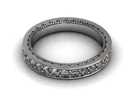 Wedding Bands Ladies Channel Set 30 Stone 0.89 TCW Diamonds 3.92g 18kt White Gold - South Bay Gold