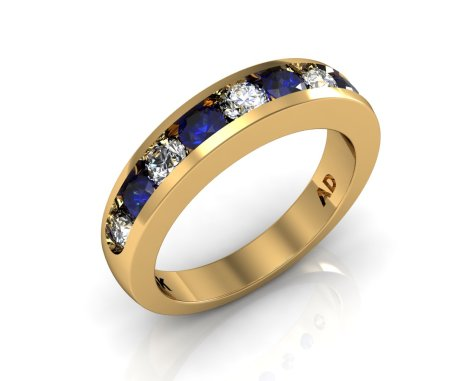 Wedding Bands Ladies Channel 9 Stone 1.0 TCW Diamonds and Blue Sapphire 6.1g 18kt Yellow Gold South Bay Gold - Torrance