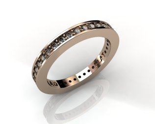 Wedding Bands Ladies Diamonds Channel Set 37 Stone 0.47 TCW Diamonds 3.61 GR 18KT Rose Gold - Southbay Gold