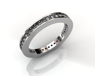Wedding Bands Ladies Diamonds Channel Set 37 Stone 0.47 TCW Diamonds 3.61 GR 18KT White Gold - Southbay Gold