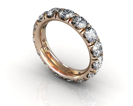 Wedding Bands Ladies Diamonds Craponia Setting 15 Stone 3.85 TCW Diamonds 4.60g 18kt Rose Gold