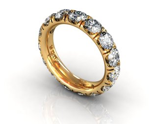 Wedding Bands Ladies Diamonds Craponia Setting 15 Stone 3.85 TCW Diamonds 4.60g 18kt Yellow Gold