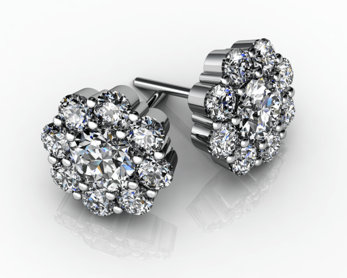 Folorette Diamond Stud Earrings