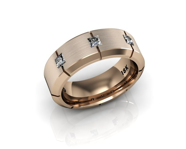 Men's Wedding Bands - 8 Stone Diamond - Rose Gold