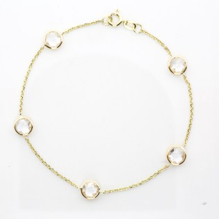 Bracelet 14k Yellow Gold and White Quartz Gemstones - By The Yard SBG Jewelry Store Torrance