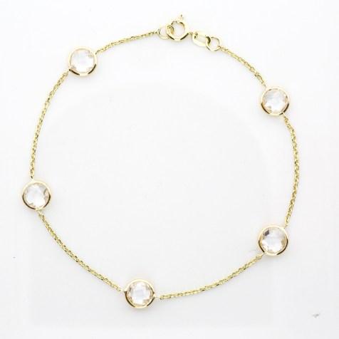 Bracelet 14k Yellow Gold and White Quartz Gemstones - By The Yard SBG Jewelry Store Torrance