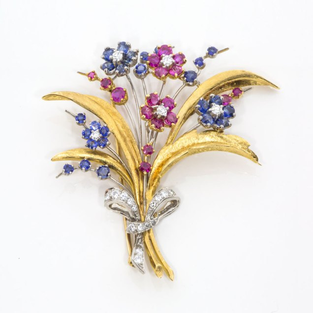 Sapphire Ruby Diamond Estate Brooch - South-Bay-Gold