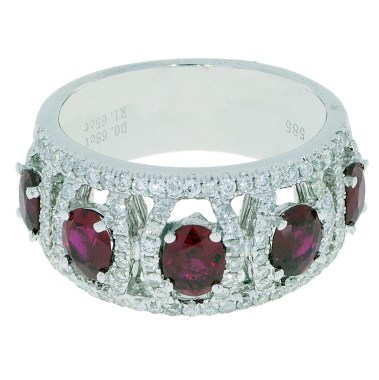 Ruby Diamond Ring -top-tilt- South Bay Gold