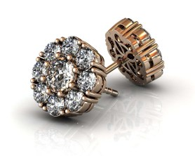 Florette Diamond Stud earrings Rose Gold-SBG
