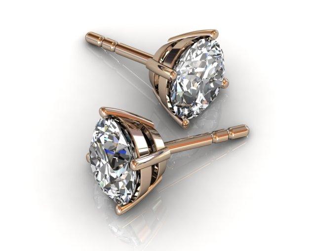 diamond stud earrings in rose gold