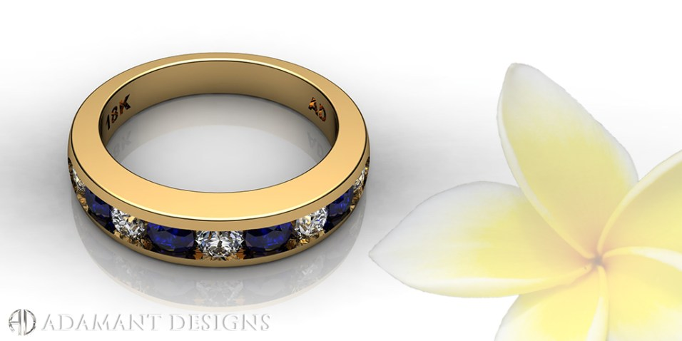 Eternity Wedding Band Diamond & Blue Sapphire