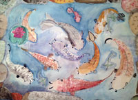 "Lydia Ann Fell created her watercolor ""Kolorful Koi"" in the youth drawing class."