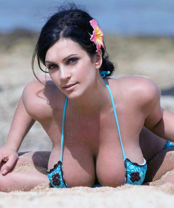 denise milani rocking in blue bikini photoshots 11 Denise Milani Rocking in Blue Flower Bikini