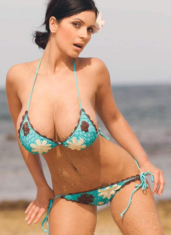denise milani rocking in blue bikini photoshots 5 Denise Milani Rocking in Blue Flower Bikini