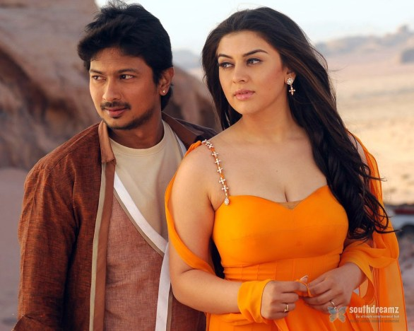 OkOk udayanithi hansika love making stills 586x468 Udhayanidhi Stalin prefers Cinema to Politics