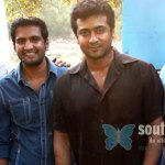 Surya-with-aarya-santhanam-on-Settai-shooting-spot
