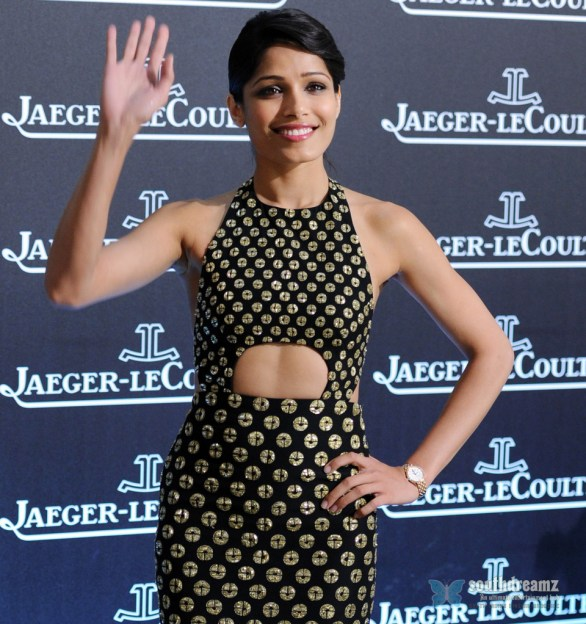 Freida Pinto Attends Jaeger LeCoultre Gala Dinner 7 586x624 I give much attention to beauty, Freida Pinto