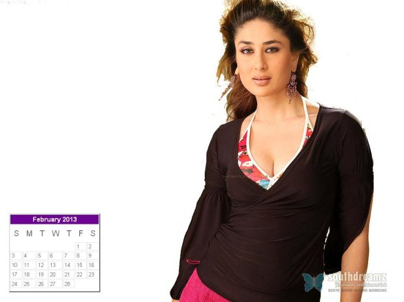 kareena kapoor desktop calendar february 2013 586x439 Kareena Kapoor calendar 2013 wallpaper