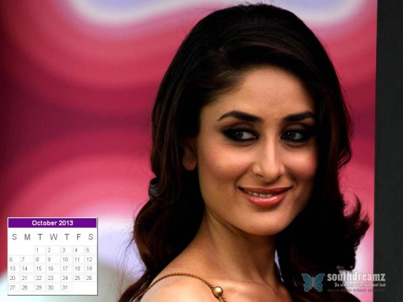 kareena kapoor desktop calendar october 2013 586x439 Kareena Kapoor calendar 2013 wallpaper