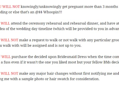 bridesmaid contract agreement