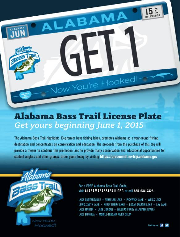 Ordered your new alabama bass trail license plate yet for Alabama non resident fishing license