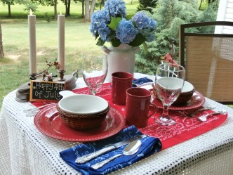 July 4th Table Decorations: Candles and Bandanas