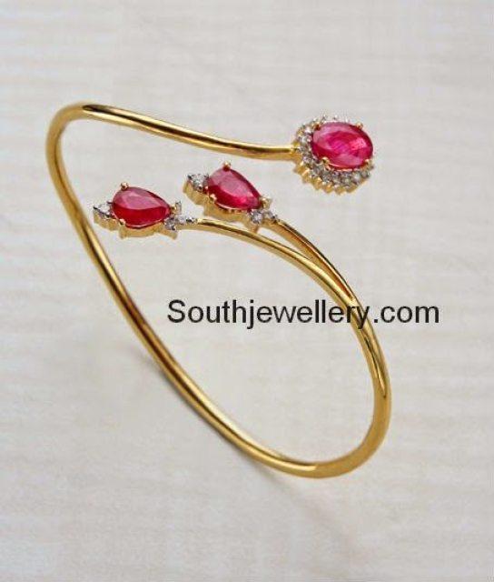 22ct Indian Gold Ruby Necklace Set 544 40: Stylish Ruby Diamond Bracelets