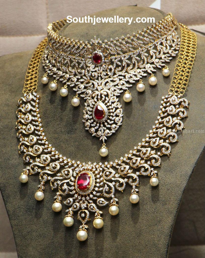 18 carat gold latest model designer diamond choker and necklace ...