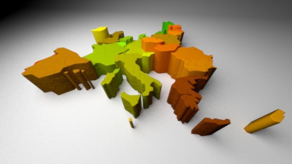 blender render of the map of europe