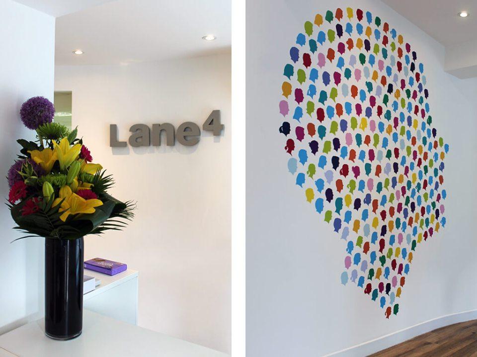 Image of Lane 4 office wall branding