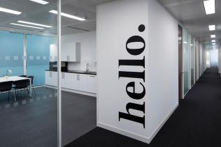 Image of office wall lettering graphics