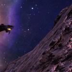 Another Morrigi ship flying near an asteroid.