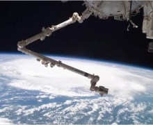 CANADARM-2 Over Hurricane Emily