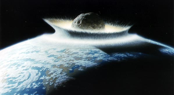 An artists conception of a Near Earth Object impacting Earth (Credits: Don Davis/NASA).