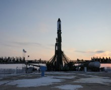 The Progress M-14M being readied for launch at the Baikonour Cosmodrome (Credits: S.P. Korolev /RSC Energia).