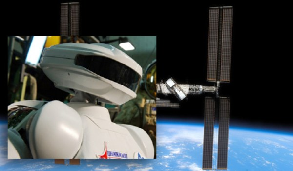 Russia's SAR-400 robot and the ISS (Credits: Roscosmos).