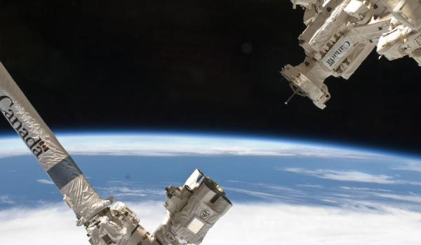 The CANADARM-2 and Dextre robotic manipulators on the ISS (Credits: NASA).