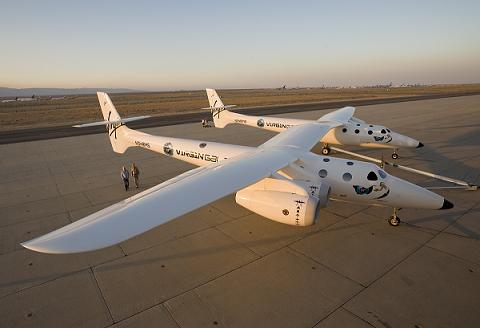 Sir Richard Branson and designer Burt Rutan with the WhiteKnightTwo (Credits: Virgin Galactic).