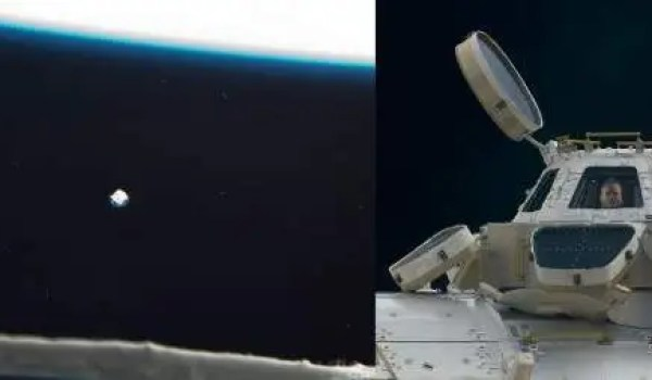 On the right, an exterior view of the Cupola. On the left, a small white pock mark is all that's left of an MMOD impact on Window 2 (Credits: NASASpaceflight.com).
