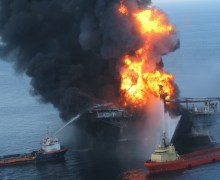 The BP Deepwater Horizon oil rig ablaze. - Credits: U.S. Coast Guard