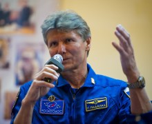Gennady Padalka answers questions at a May 14 2012 prelaunch press conference (Credits: NASA/Bill Ingalls).
