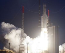 Ariane 5's Lift-off from Kourou spaceport in French Guyana.