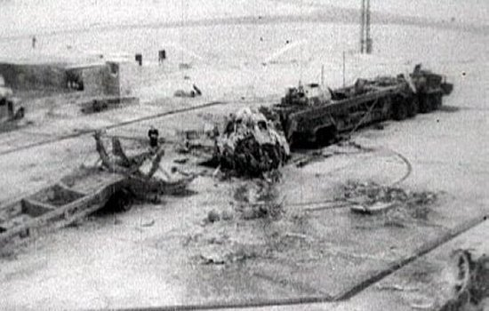 Remains of the R-16 and its launch pad after the Nedelin Catastrophe