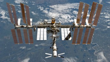 The InternationThe International Space Station, nearly complete, in 2011 as seen by Discovery STS-133 (Credits: NASA).al Space Station, completed, in 2011 as seen by Discovery STS-133 (Credits: NASA).