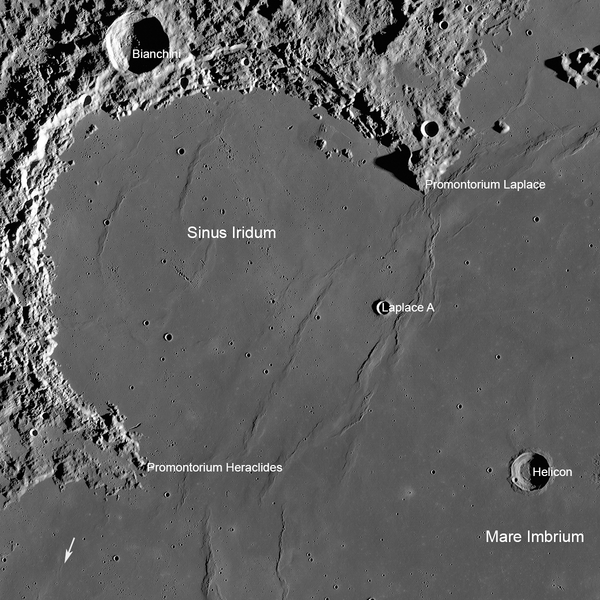 An annotated photograph of Chang'e 3′s landing site, taken by NASA's Lunar Reconnaissance Orbiter. The arrow at lower left, shows the location of the Soviet Lunokhod 1 rover (Credits: NASA/GSFC/Arizona State University).