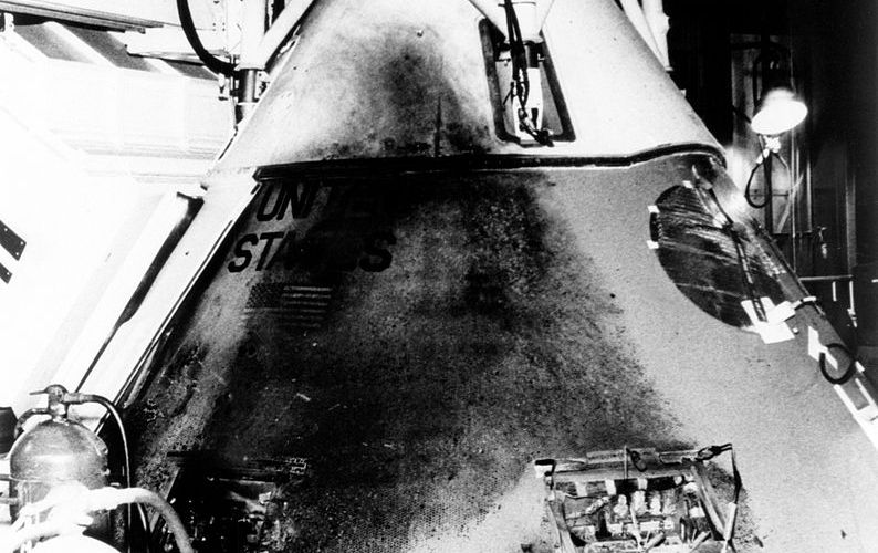 The Apollo 1 Command Module one day after the fatal fire (Credits: NASA).