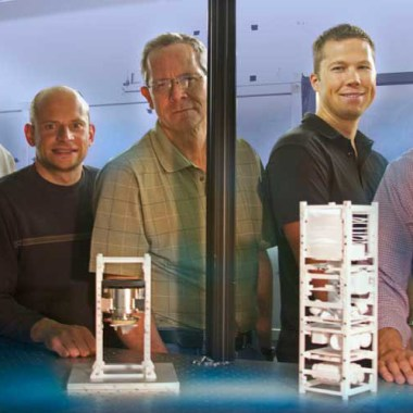 From left to right: Brian Bauman, Vincent Riot, Darrell Carter, Lance Simms and Wim De Vries have developed and tested land-based mini-satellites that eventually will be used in space to help control traffic in space (Credits: Julie Russell/LLNL).