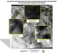 Satellite imagery of suspected MH370 debris from March 23, released by the Malaysian Remote Sensing Agency (Credits: Ministry of Transport Malaysia).