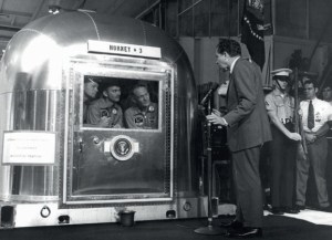 Apollo 11 crew are visited by US President Richard Nixon while quarantined in a special Mobile Quarantine Facility. Quarantine was abandoned after Apollo 14 (Credits: NASA).