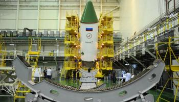 The ISS Progress 60 spacecraft is seen in its processing facility at the Baikonur Cosmodrome in Kazakhstan being prepared for launch July 3. Credit: RSC-Energia
